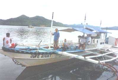 Dive Right at 19 meters, the largest, fastest, most comfortable wreck diving boat in Coron, Palawan, Philippines.