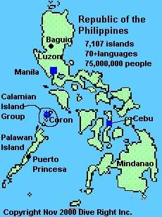 Map of the Republic of the Philippines showing Manila, Coron, and Cebu